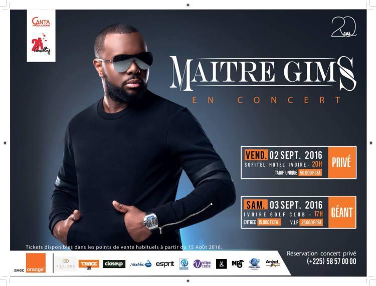 Maitre Gims en concert live à Abidjan les 2 et 3 septembre avec Orange CI